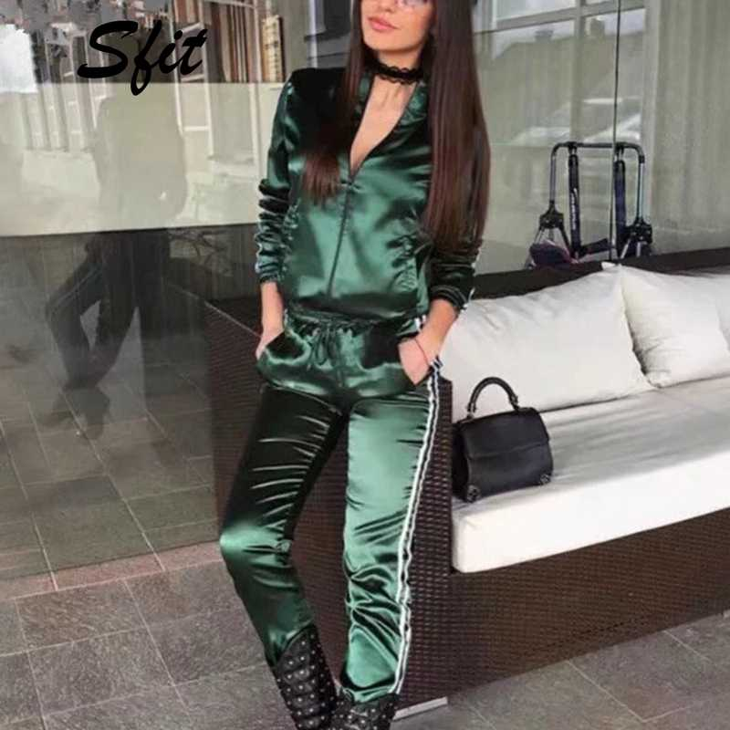 Sfit 2019 Casaul Tracksuit Women 2 Piece Set Top And Pants Satin Striped Patchwork Zipper Sweatshirt Gym Clothing Sportwear