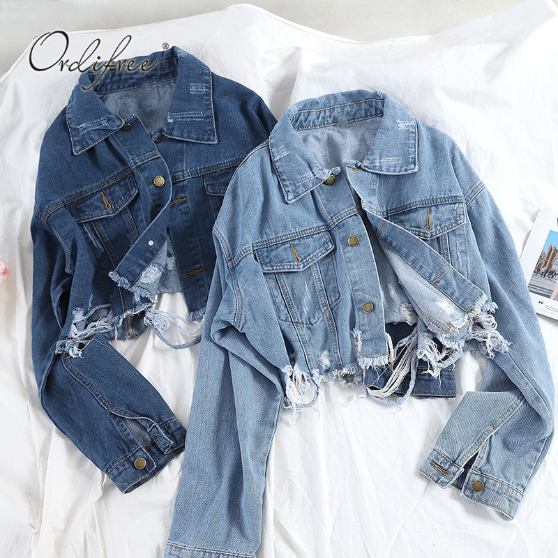 Ordifree 2019 Autumn Streetwear Women Denim Jacket Coat Casual Outwear Fashion New Short Ripped Jeans Jacket Coats