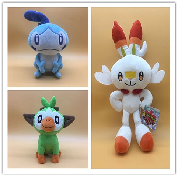 New Year Toy 23-36cm pokemones Sword and Shield Scorbunny Grookey Sobble Stuffed Plush Sirfetch'd Doll Toys Christmas Gift Kids