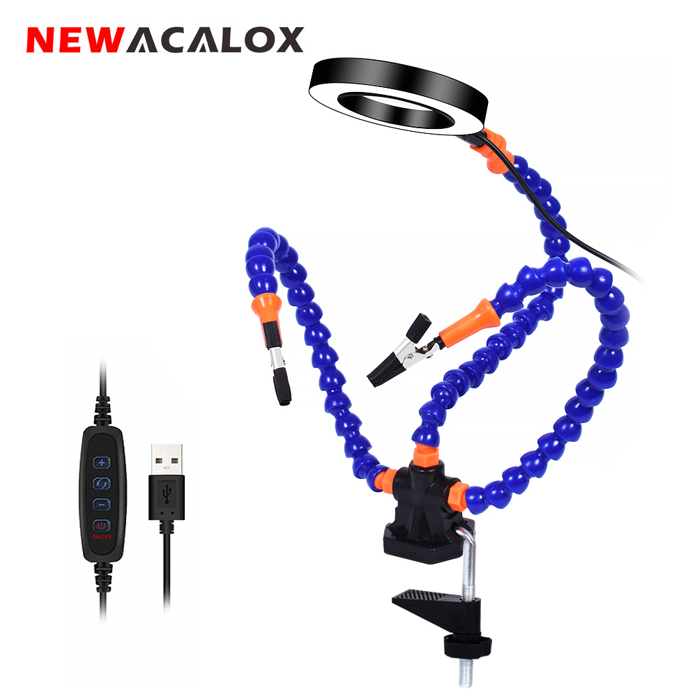 NEWACALOX Tabletop Clamp Base Helping Hands Soldering Third Hand Tool With 3X LED Illuminated Magnifying Glass PCB Board Holder