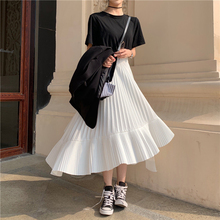 Harajuku Pleated Long Skirts Women Korean High Waist Black white Asymmetrical Skirts Ladies Plus Size Midi Skirt jupe femme plus size pleated side slit asymmetrical skirt