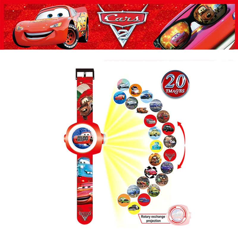 11 Styles Disney Cars Frozen Toy Cartoon Pattern Digital 3D Projection Watch LED Display Children's Watch Toys For Boys Relogio