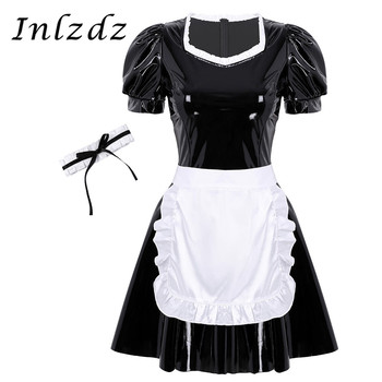 Women's French Maid Fancy Cosplay Costume Outfit Patent Leather Dress with Apron and Choker  Role Play Games Dress Up Clothing solid fitted dress with choker