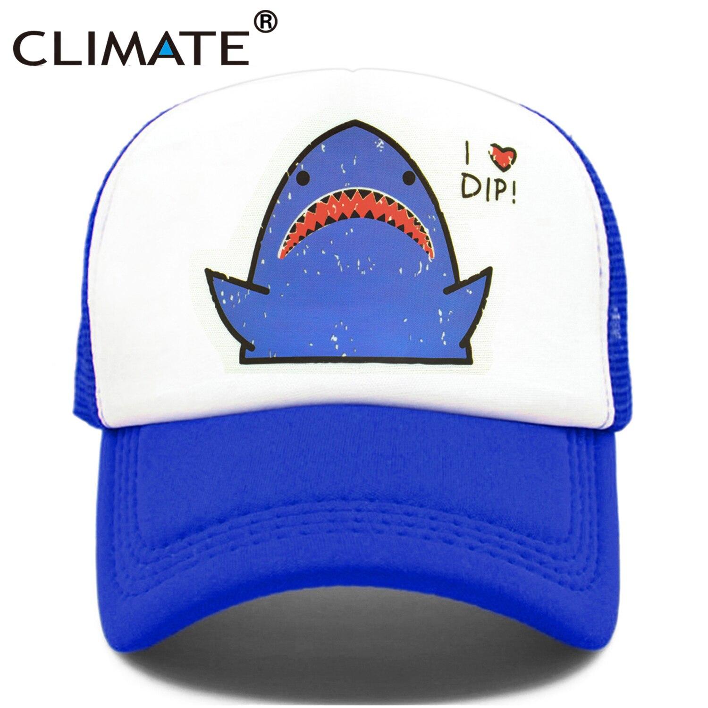 CLIMATE Shark Trucker Cap Hat Shark Hunter Surfing Cap Hip Hop Cute Cartoon Cool Summer Mesh Cap Hat For Men Women