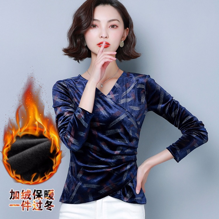 Anqi Pull 2019 nouveau Style or velours croix col en v chemise polyvalente coupe ajustée Style occidental minceur à manches longues T-shirt femmes p