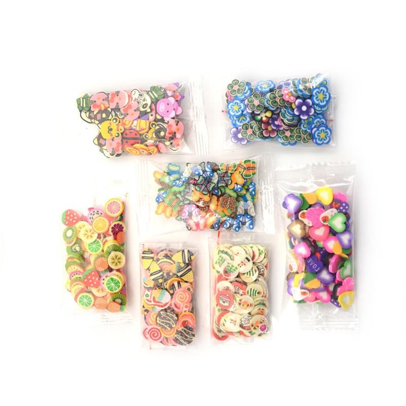 100Pcs Slice Fruit  3D Nail Art Tips Flower Fruit Animal Slice Polymer Clay Nails Decoration Girls DIY Stickers Toys