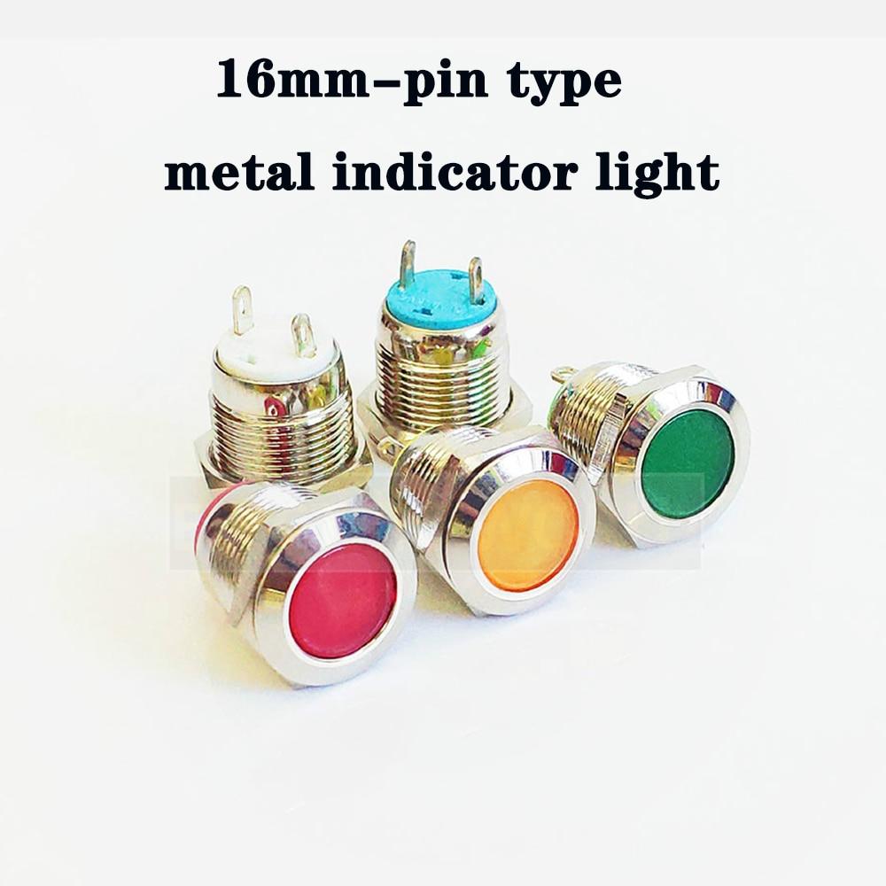LED Metal Indicator Lights 16mm Round LED Flat Button Head Waterproof Signal Lamp Pin Connection 12V 24V 220V Moto Indication