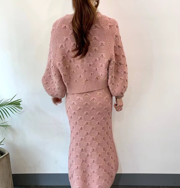 Chic Knitted Single-breasted Lantern Sleeve Cardigan Sweater with V Neck Sleeveless Sweater Dress 2 Piece Set 2