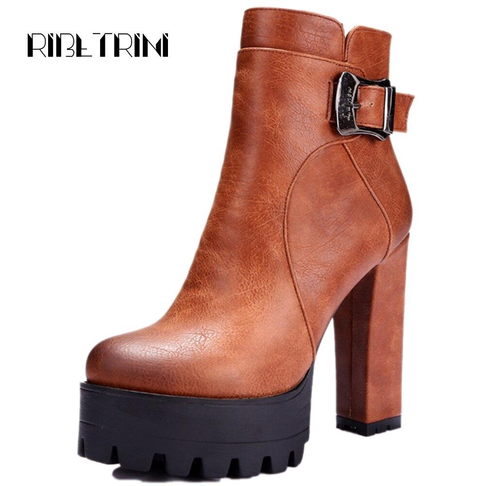 Ritrahini femmes bottines haut Chunky talons hauts bout rond plates-formes boucle ceinture sangle fermeture à glissière automne hiver chaussures