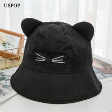 USPOP 2019 Women Autumn hats women suede bucket female embroidered cat sun