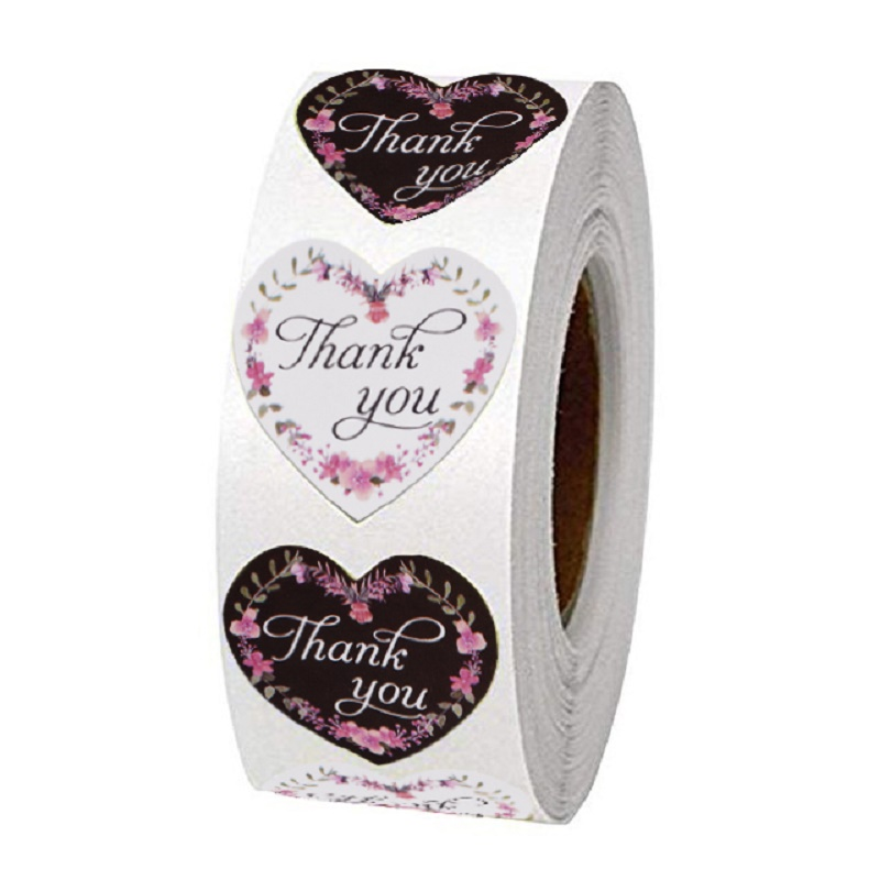 Heart Thank You Stickers Wedding Festival Party Favors 500pcs 1 Inch Decorative Sticker Rolls Envelope Gift Stationery Stickers