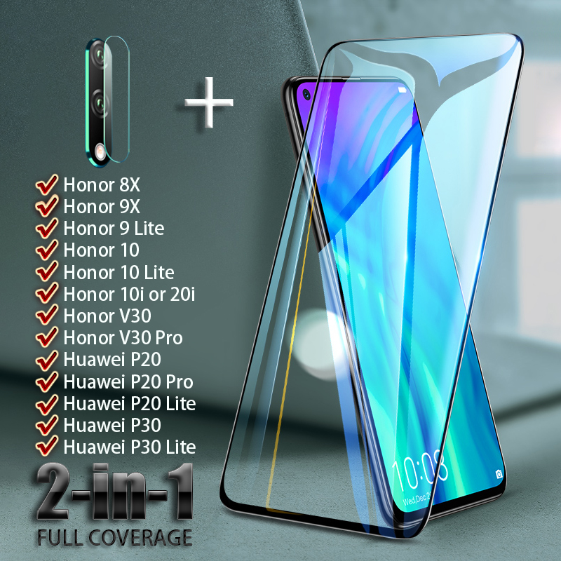 Full Cover Screen Protector For Huawei Honor V30 Pro 8X 9X 9 10 Lite 20i 10i Tempered Glass Camera Lens On Huawei P30 P20 Lite