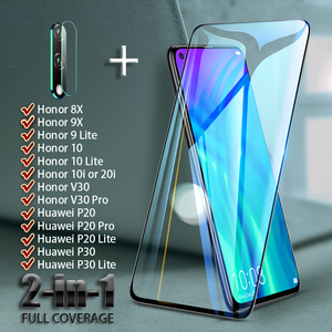 Full Cover Screen Protector For Huawei Honor V30 Pro 8X 9X 9 10 lite 20i 10i Tempered Glass Camera Lens On Huawei P30 P20 lite(China)
