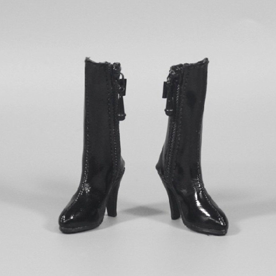 1:6 Scale Female Soldier Ankle Boots Black for 12/'/' Figures Phicen Kumik Toy