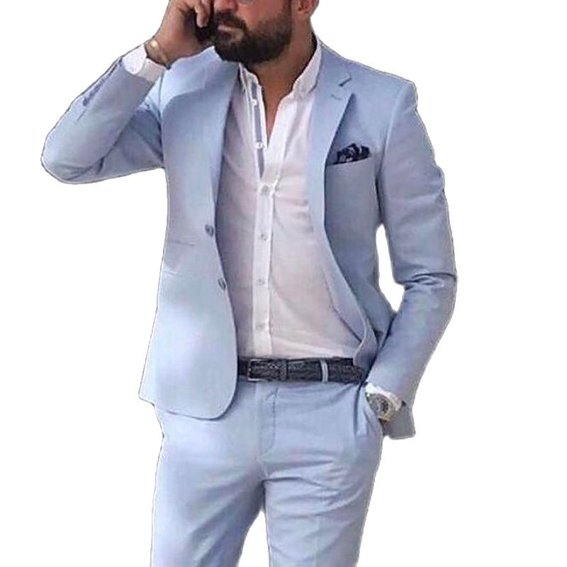 Sky Blue Linen Beach Men Suits 2021 Summer 2 Piece Slim Fit Groom Tuxedo for Wedding New Male Fashion Jacket with Pants