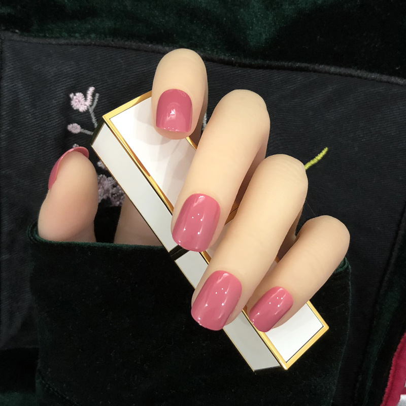 Fake Nails Patch GIRL'S Short Finished Product Nail Stickers Nail Cover Waterproof Long-lasting Korean-style Hipster Nail Tip 24