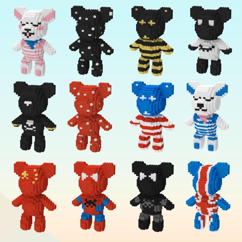 19cm High Cute Bear Brick Cartoon Assemble 870pcs+ Model Babybear Diamond Micro Building Blocks Educational Toy For Gitf