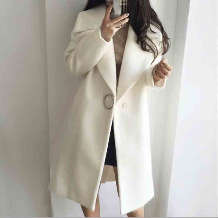 Autumn Women Turn Down Collar Slim Solid Jacket Overcoat Long Sleeve Causal Wool Blends Elegant Coats in Wool amp Blends from Women 39 s Clothing