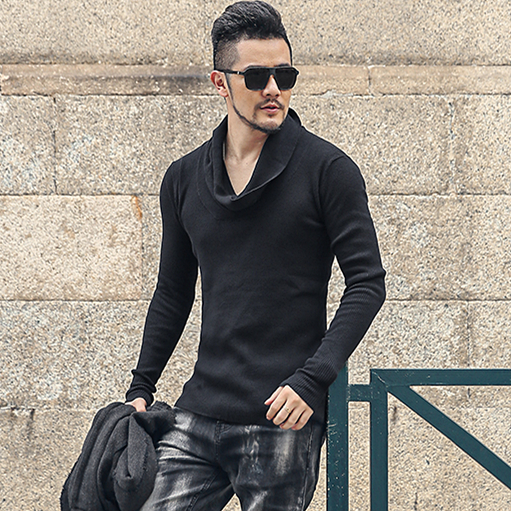 Winter High Neck Thick Warm Sweater Men Slim Fit Turtleneck Sweaters Men Knitwear Pullover J807