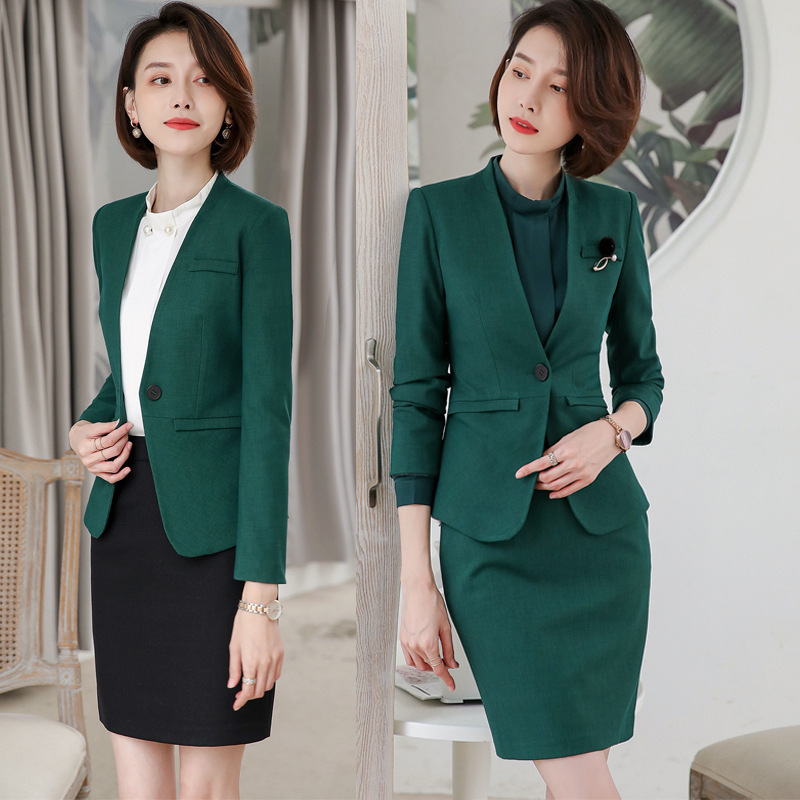 Female Elegant Business Women's Tops And Blouses Skirt Blazer Suits Office Uniform Ladies Blazer Woman Work Wear 2 Pieces Set