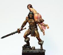 1/24 75 мм старинный воин и женщина, модельная фигурка из смолы, наборы, миниатюрный gk Unassembly, неокрашенный