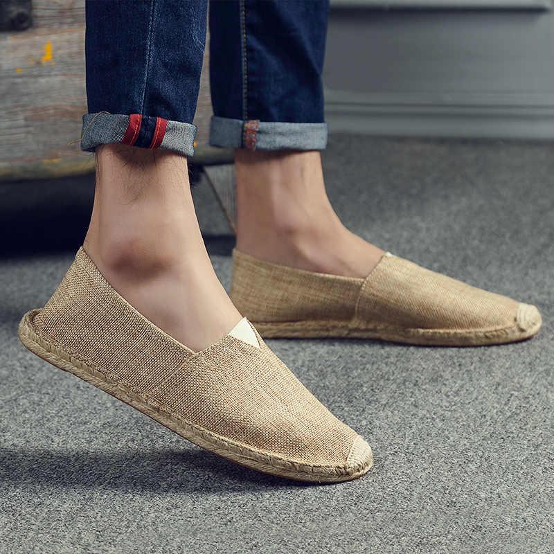 Herren Slip auf Leinwand Schuhe Männer Leinen Wohnungen Müßiggänger Männer Casual Schuhe Frauen Mens Turnschuhe Schuhe Sapatillas Deportivas Para Hombre