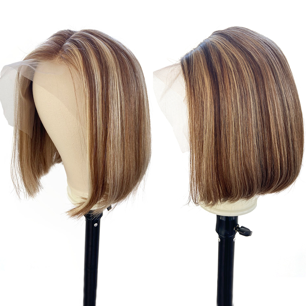 Human Hair Ginger Blonde Brown Balayage Hair Wig Coloured Cheap Short BOB Lace Front Wigs Pre Plucked 1b 30 Highlight Ombre Wig