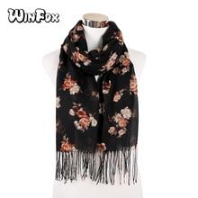 купить Winfox Women Floral Printed Hijab Scarf Viscose Shawl Head Wraps Soft Long Tassel Muslim Hijabs Stole дешево