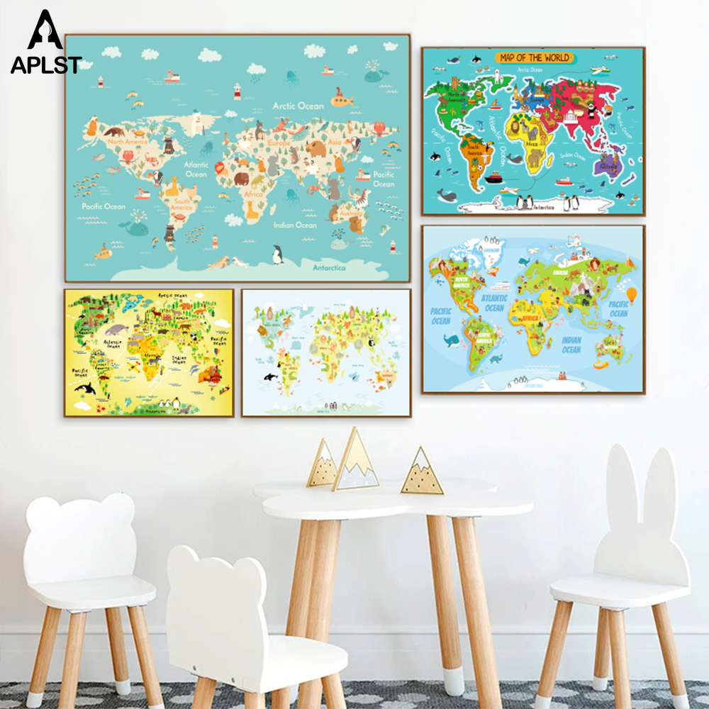 Animal Species Distribution World Map Kids Nursery Poster Children Geography Education Prints Painting Baby Bedroom Wall Picture