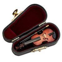 Yeni hediyeler keman müzik enstrümanı minyatür çoğaltma kılıf ile Heykelcikler ve Minyatürler Ev ve Bahçe -
