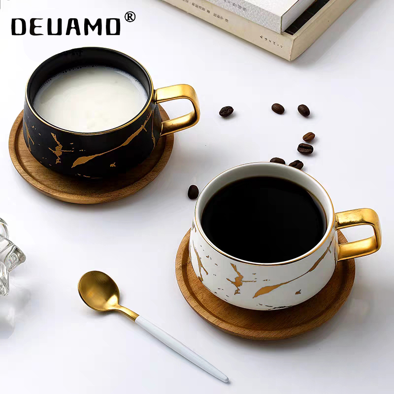 Luxury Nordic Marble Ceramic Coffee cups Condensed Coffee Mugs Cafe Tea breakfast Milk Cups Saucer Suit with Dish Spoon Set Ins