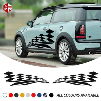 2X Checkered Flag Styling Car Door Side Stripes Body Vinyl Decal For MINI Cooper Clubman R55 Accessories MINI Body Decal