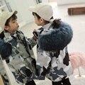 Детская камуфляжная одежда  пальто из натурального кроличьего меха для малышей для девочек и мальчиков  куртка из меха енота для девочек  пл...