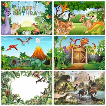 Dinosaur Jungle Forest  Animal Safari Party Newborn Baby Shower Boy Birthday Backdrop Photography Background for Photo Studio allenjoy background photography wildlife jungle animal forest safari party boy kids birthday round backdrop cover photocall
