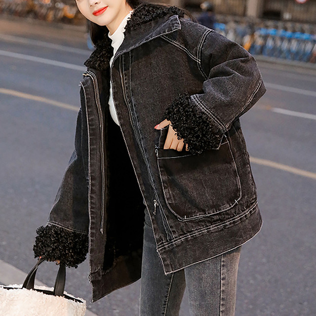 Jacket Women 2020 Black Women's Winter Loose Plus Velvet Wool Roll Tooling Thick Denim Jacket Coat Jacket Ladies Korea Пуховик 4