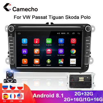 Camecho 2Din Car Radio Android Car Multimedia GPS Player 2din Car Radio Auto For VW Volkswagen Seat Skoda Passat b6 b7 Golf Polo image