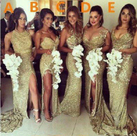 Sparkly Bling Gold Sequined Mermaid Bridesmaid Dresses Backless Slit Plus Size Maid Of The Honor Gowns Wedding Dress