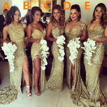 Sparkly Bling Gold Sequined Mermaid Bridesmaid Dresses Backl