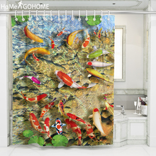 Clear Fish Pond Lotus Flowers Polyester Shower Curtains Washable Colorful Waterproof for Bathroom Bath