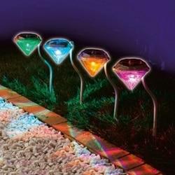 Nowy odkryty LED zasilany energią słoneczną dekoracji ścieżka ogrodowa lampki LED diamenty lampa trawnikowa światła słonecznego ścieżka w Lampy LED na trawnik od Lampy i oświetlenie na
