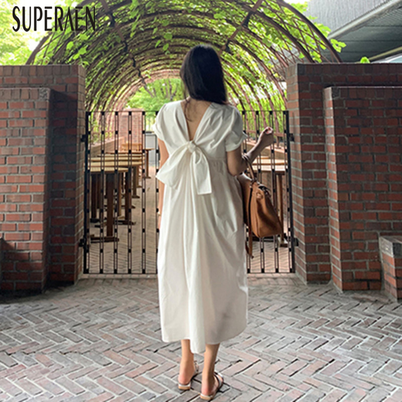 SuperAen Summer New 2020 Long Dress Women Solid Color Cotton Korean Style Ladies Dress Short Sleeve Women Clothing