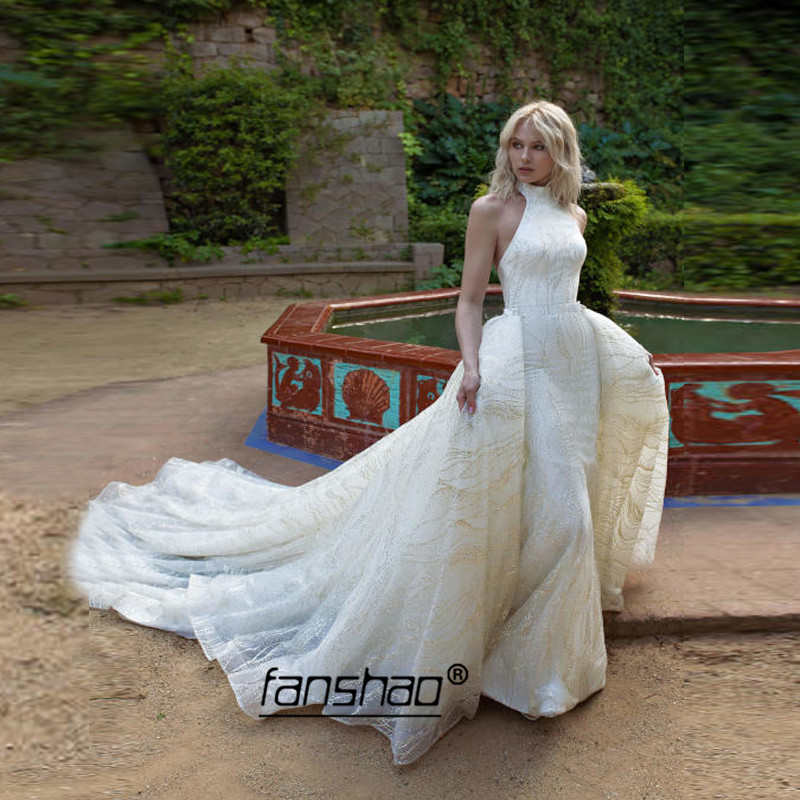 Detachable Train Mermaid Wedding Dress Sequin Lace High Neck Vestido De Noiva Dubai Arabic Boho  Wedding Gown Bridal Dress