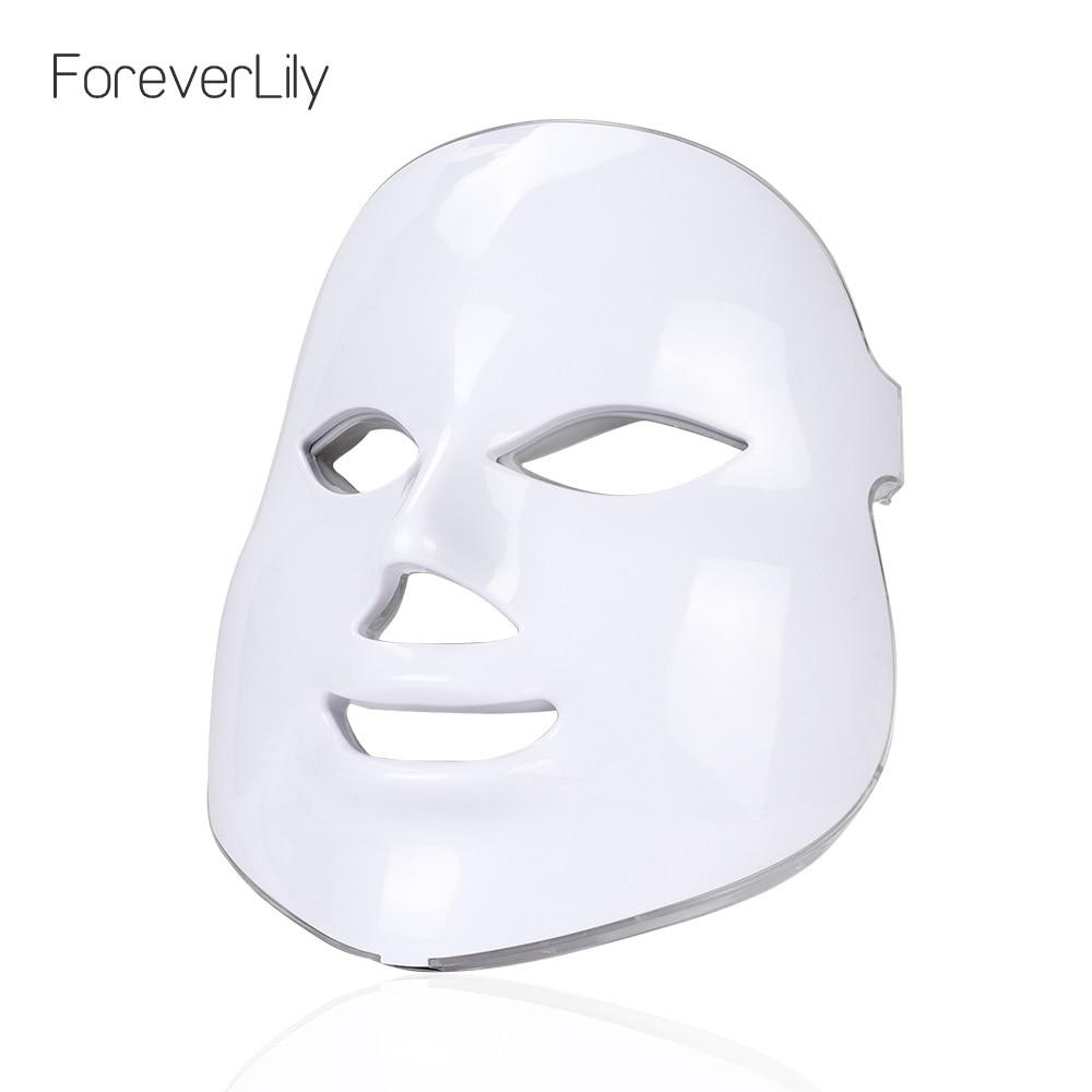 7 colores Led máscara Facial belleza cuidado de la piel rejuvenecimiento arrugas eliminación de acné Facial terapia de belleza blanqueamiento instrumento de ajuste-in Máscara LED from Belleza y salud on AliExpress