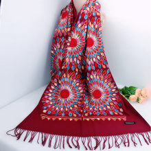 2020 Chinese style women scarves female wrap lady Thick Warm Embroidery tassels shawl Scarf muffler sun flower Cashmere Pashmina