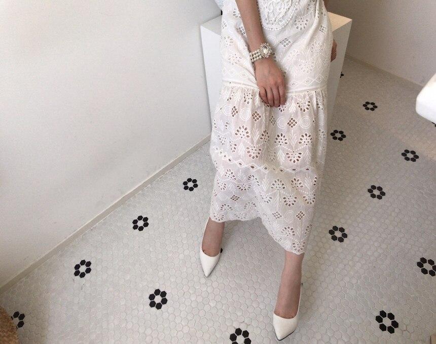Hd925e499dabc4ea283479bf4bdd10611S - Summer Korean O-Neck Half Sleeves High Waist Lace Hook Flowers Hollow Out Midi Dress