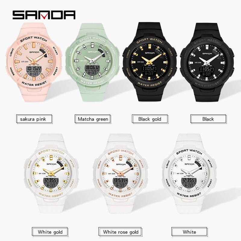 SANDA-montres pour hommes et femmes, montre de luxe, résistance, compte à rebours de Sport, étanche 50M, pour garçons et filles 2