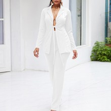 Women Work Fashion Pant Suits 2 Piece Set Turn-Down Collar S