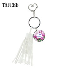 TAFREE spring flowers Key Holders JW.ORG white tassels jewelry simple glass cabochon metal knot JW for men classic party JW45(China)