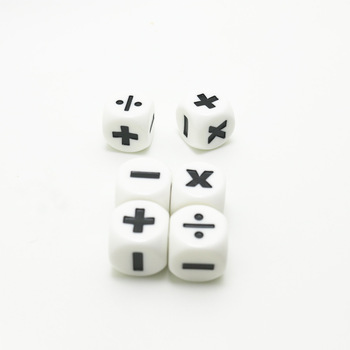 2Pcs New Addition, Subtraction, Multiplication and Division Symbol Operation Dice Arithmetic Math Teaching Preschool 1.6CM image