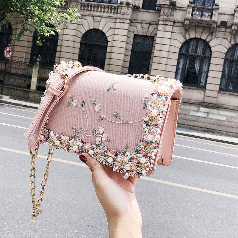 2019 Lace Flowers Women Messenger Bags Crossbody Bags High Quality PU Leather Sweet Girl Square Bag Female Shoulder Bag Handbag